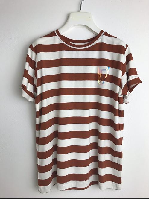 T-shirt a righe latte-coccio