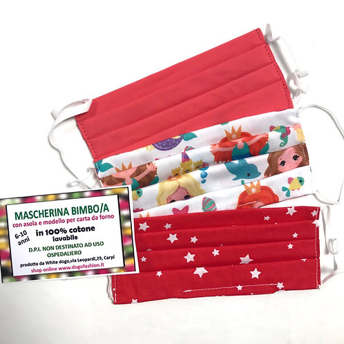 Pacchetto 3 mascherine bimba 6-10 anni rosa/rosso
