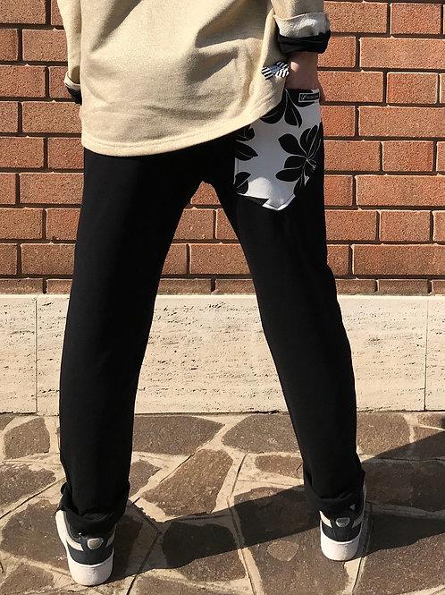 Panta morbido con tasca fiore