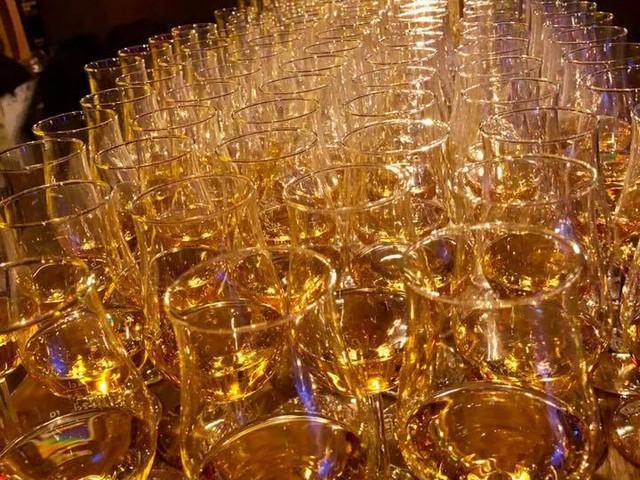Gläser an einem Whisky-Tasting