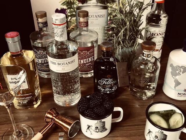 Gin-Auswahl bei Gin-Tasting