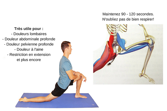 étirement du psoas, stretching psoas-iliaque, muscle