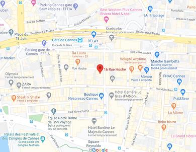 plan cannes centre ville accès cabinet ostéopathie rue hoche