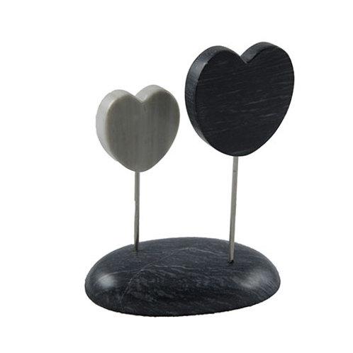 Coeurs en marbre gris et noir