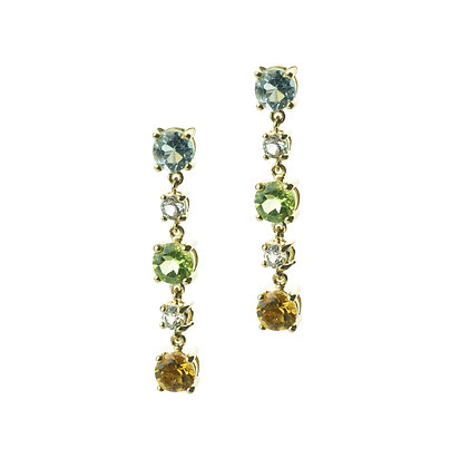Sterling Silver Multicolored Gemstone Dangle Earrings - 18K Yellow Gold Plated