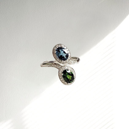 Sterling Silver Bypass Ring with Chrome Diopside and London Blue Topaz