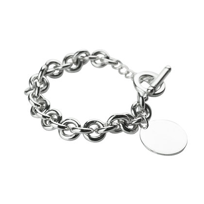 Sterling Silver Round Rolo Bracelet with Round Tag