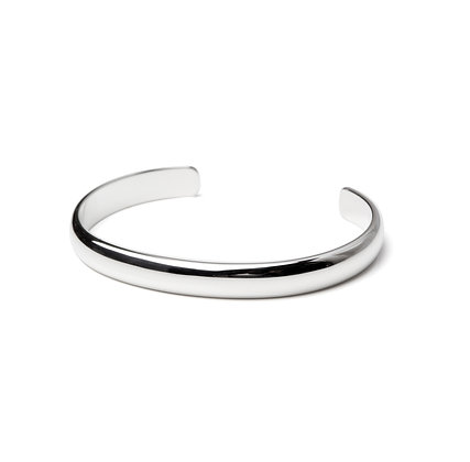 Sterling Silver Cuff Bangle - Unisex 8 mm