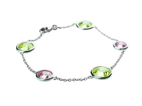 Sterling Silver Gemstone Imitation Bracelet