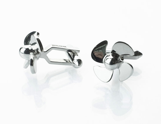 Sterling Silver 4-Blade Propeller Cufflinks