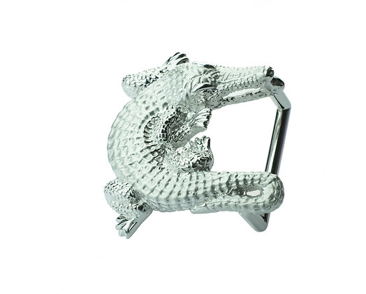 Sterling Silver Crocodile Belt Buckle