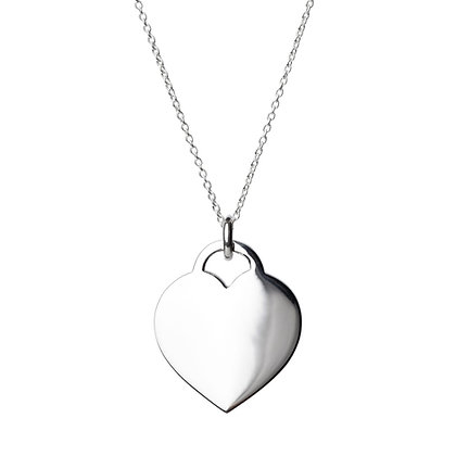 Sterling Silver Flat Heart Pendant - Large