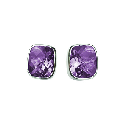 Sterling Silver Checkerboard Cut Amethyst Earrings