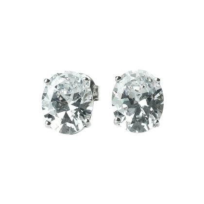 Sterling Silver Diamond Simulant CZ Earrings - Oval L