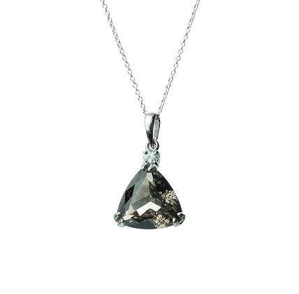 Sterling Silver Triangle Smoky Quartz and Diamond Simulant