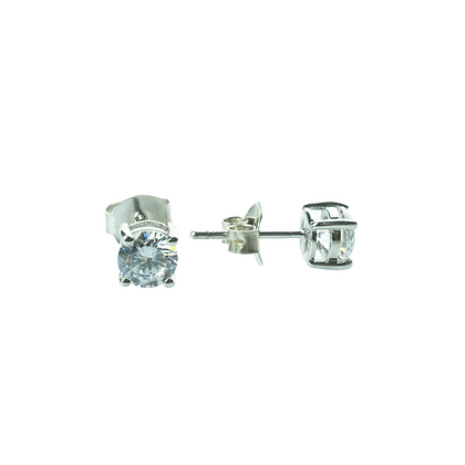 Sterling Silver Diamond Simulant CZ Earrings - 4 MM