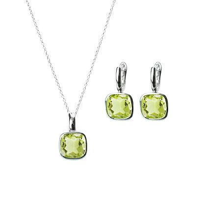 Sterling Silver Lemon Quartz Earrings and Pendant/Enhancer