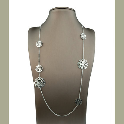 Sterling Silver Chrysanthemum Station Necklace