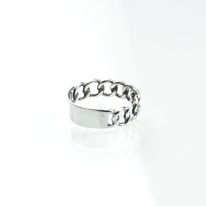 Sterling Silver Half Curb Ring