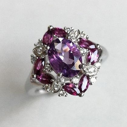 Amethyst, Rhodolite Garnet and Natural White Zircon Ring