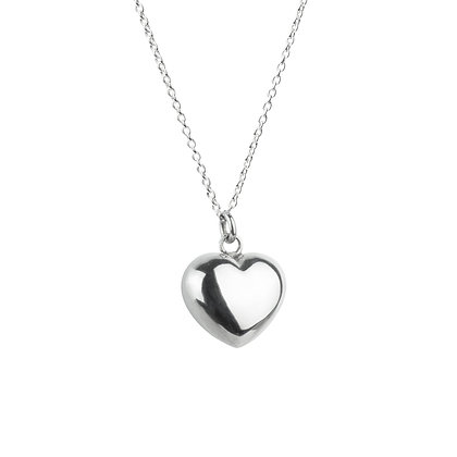 Sterling Silver Smooth Puffed Heart Pendant - Small