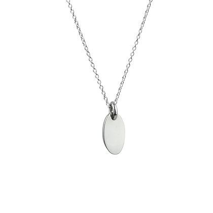 Sterling Silver Oval Tag Pendant - Small