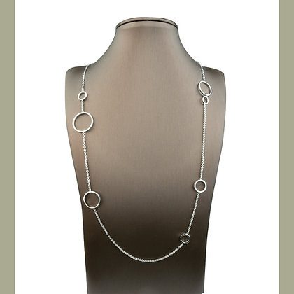 Sterling Silver Circle Station Necklace