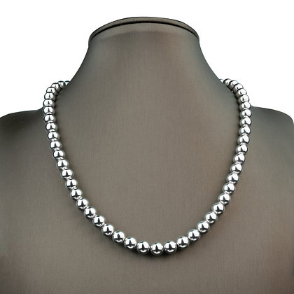 Sterling Silver Bead Necklace - 8 mm