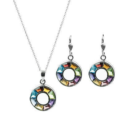 Sterling Silver Multicolored Earrings and Pendant