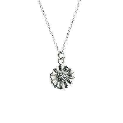 Sterling Silver Sunflower Pendant - Oxidized