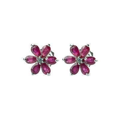 Sterling Silver Ruby Flower Earrings