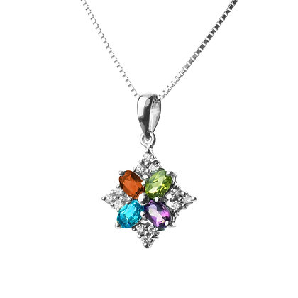 Sterling Silver Multicolored Gemstones and Diamond Simulant P