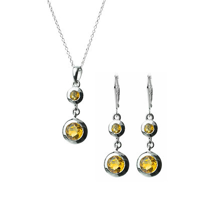 Sterling Silver Citrine Earrings and Pendant