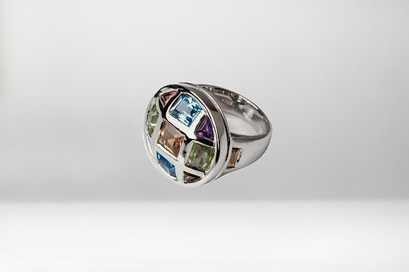 Sterling Silver Ring with Multi Colored Gemstones