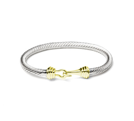 Sterling Silver Cable Bangle with 18K Yellow Gold Plating