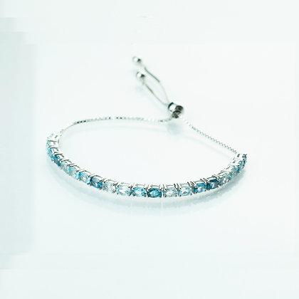 Sterling Silver Aquamarine & Blue Topaz Adjustable Bracelet