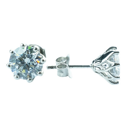 Sterling Silver Diamond Simulant CZ Earrings - 7.5 MM