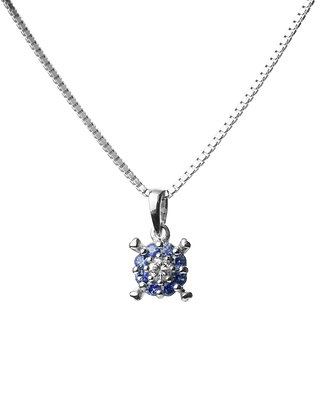 Sterling Silver Blue Sapphire and Diamond Simulant Pendant
