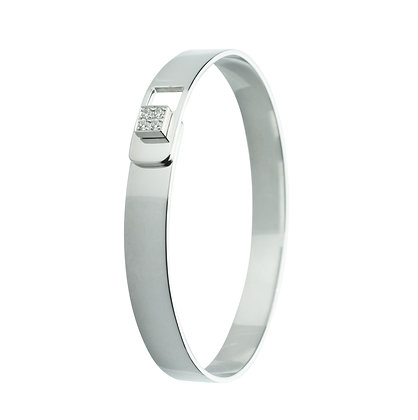 Sterling Silver Band Bangle with Diamond Simulants