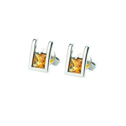 Sterling Silver Square Citrine Earrings