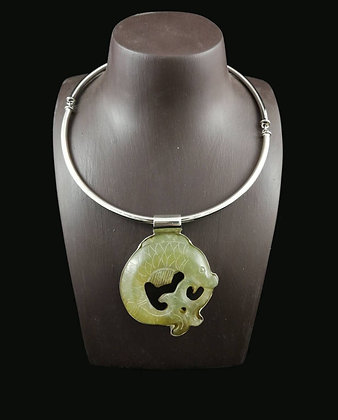Carved Jade Pendant with Sterling Silver