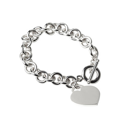 Sterling Silver Round Rolo Bracelet with Heart Tag