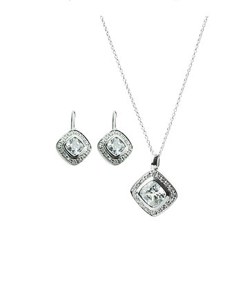 Sterling Silver Gemstone Earrings and Pendant