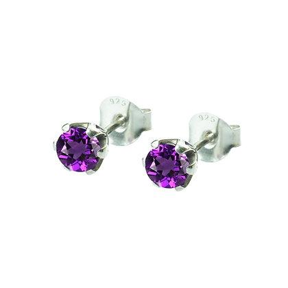 Sterling Silver Round Amethyst Earrings- 5 MM
