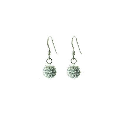 Sterling Silver Diamond Simulant Crystal Earrings - Small Dangle