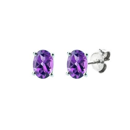 Sterling Silver Oval Amethyst Earrings- 8x6 MM