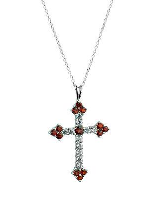 Sterling Silver Garnet and Diamond Simulants Cross Pendant