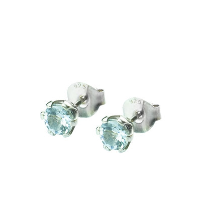 Sterling Silver Round Aquamarine Earrings- 5 MM