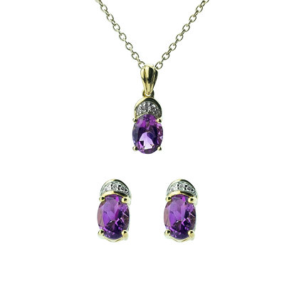 Sterling Silver Amethyst with Diamond Earrings and Pendant