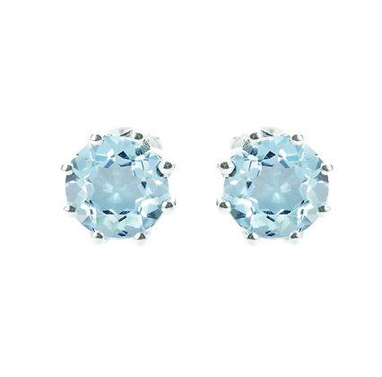 Sterling Silver Round Blue Topaz Earrings